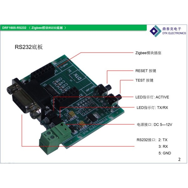 CC2530 DRF  ZigBee Module - RS232 to TTL backplane (DRF1605-RS232A)