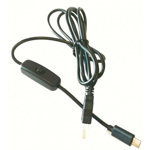 کابل پاور رزبری پای 2 آمپر با کلید قطع و وصل power cable raspberry pi