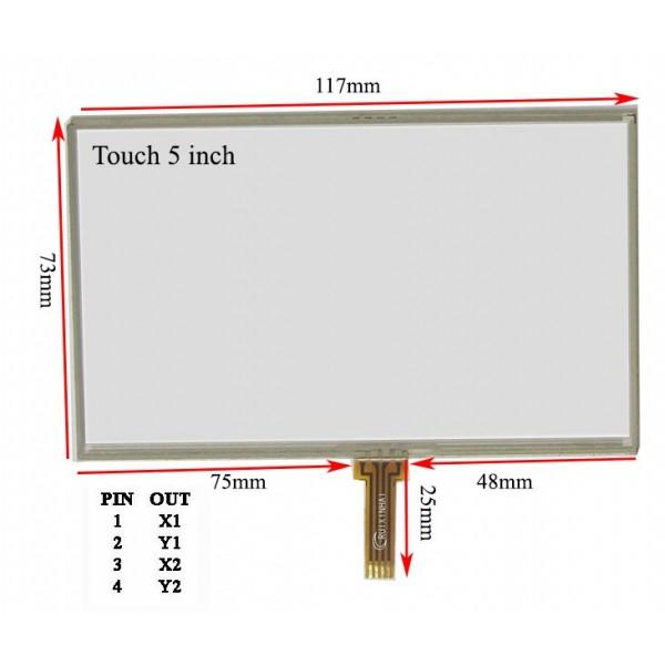 وسط فلت 5inch  Touch 5.0 inch تاچ اسکرین 5 اینچ (کیفیت خوب)