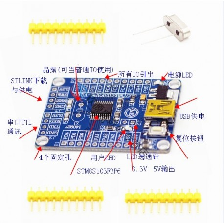 مینی برد STM8S_MiniKit STM8S003F3P6 -کویرالکترونیک