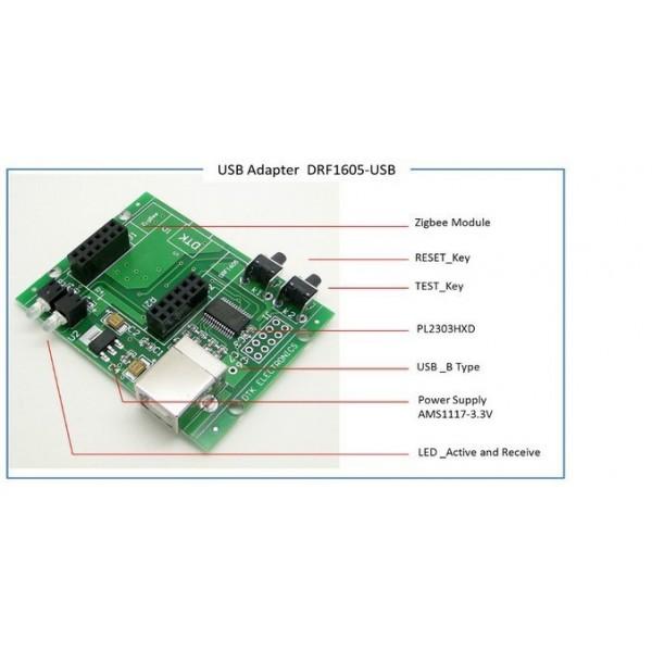 CC2530 Zigbee Module USB to UART Backplane (DRF1605-USB)-کویرالکترونیک