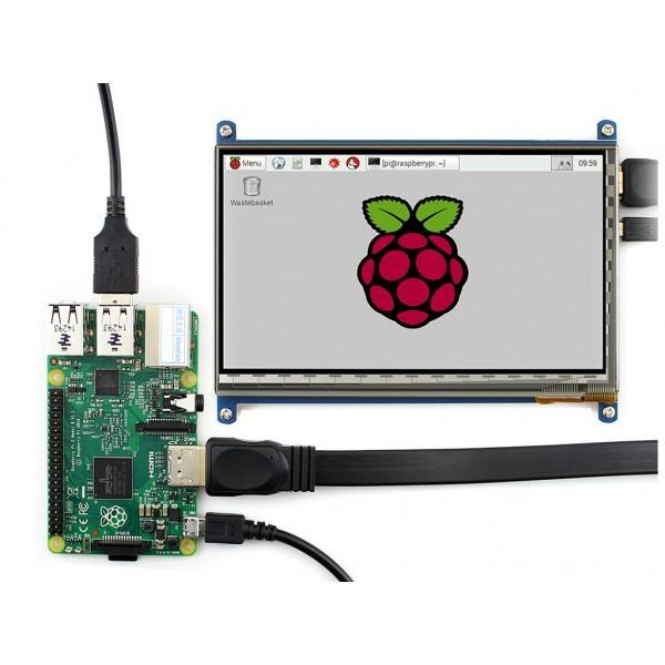 نمایشگر 7 اینچ با تاچ خازنی LCD 7 inch 1024x600 + USB Capacitive touch hdmi2lcd