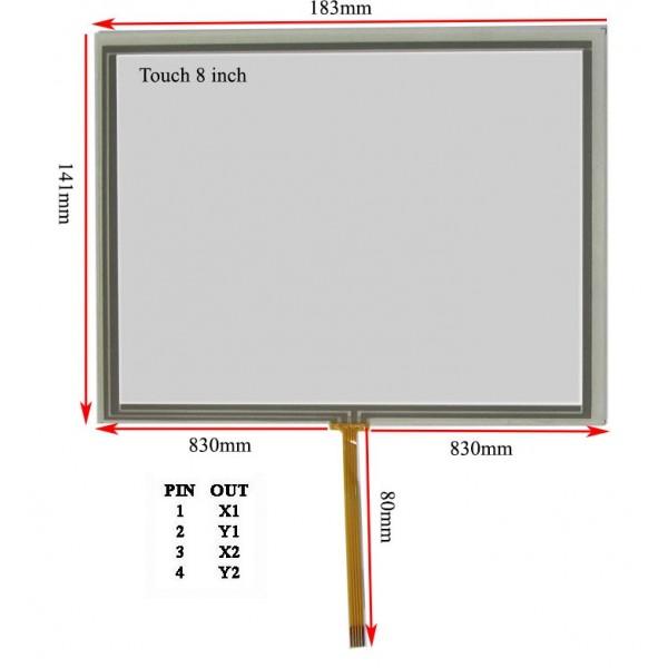 Touch 8 inch وسط فلت تاچ اسکرین 8.0 اینچ (کیفیت خوب)