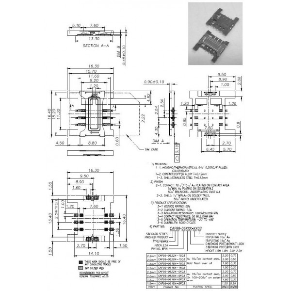 sim holder با کاور فلزی/سوکت سیم کارت 6p/sim/